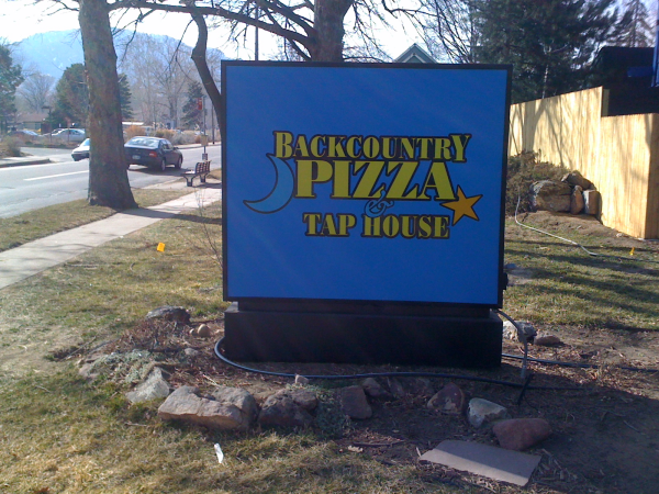 cabinet sign, sign box, backcountry pizza sign, lighted cabinet