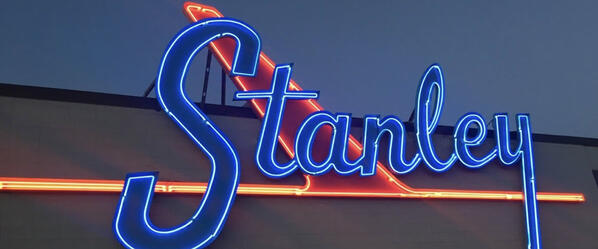 Stanley Marketplace Sign in Denver, Illuminated at Night