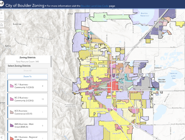 City of Boulder Zoning Map