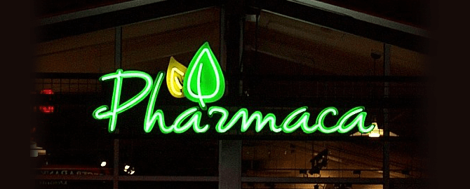 Pharmaca Exposed Neon Channel Letters