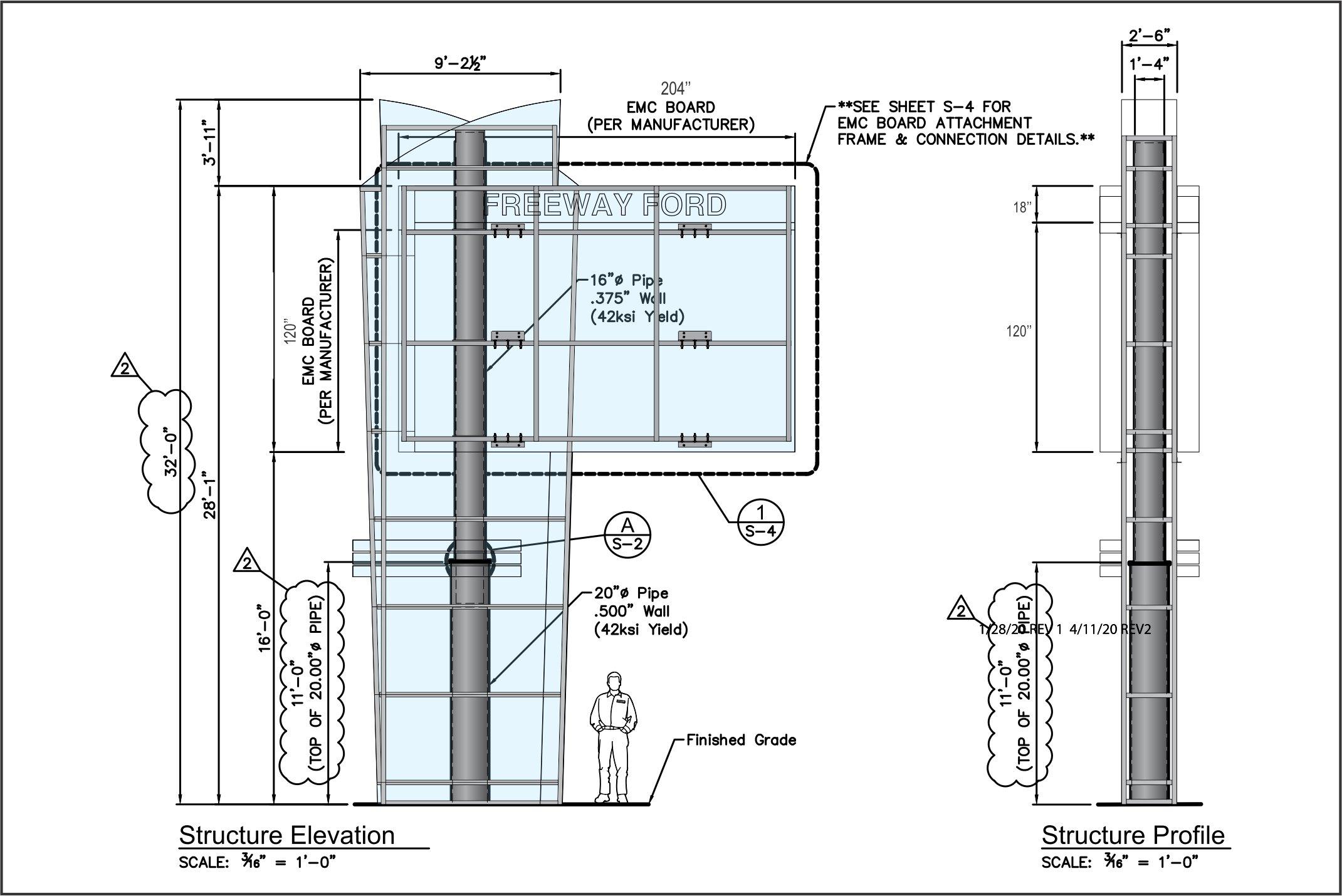 Structure Design Schematics | Outdoor Illuminated Business Signage